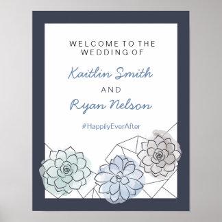 Signo positivo suculento geométrico del boda póster