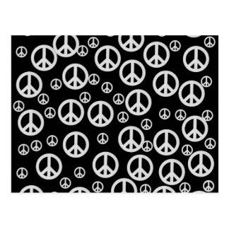 Signos de la paz blancos y negros postal