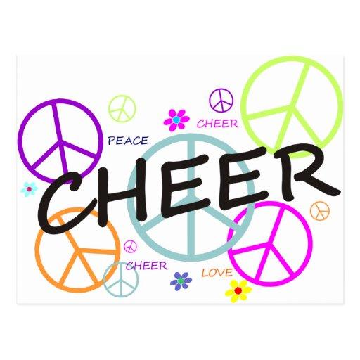 Signos de la paz coloreados alegría tarjeta postal