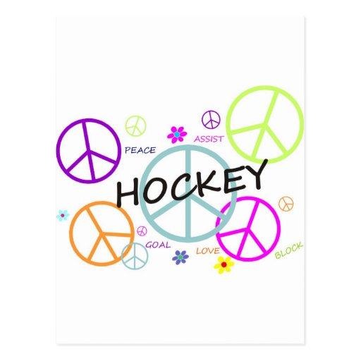 Signos de la paz coloreados hockey postales