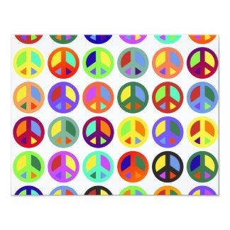 Signos de la paz coloridos invitación 10,8 x 13,9 cm