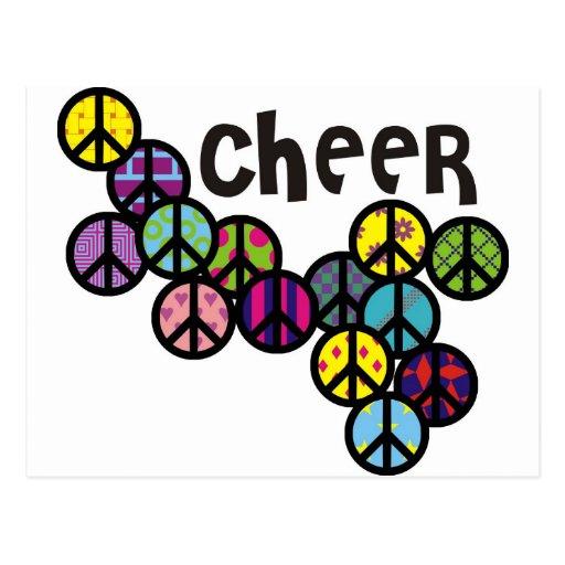 Signos de la paz de la alegría llenados postales