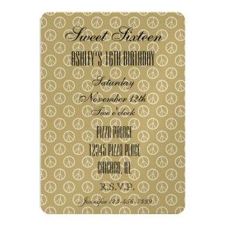 Signos de la paz del oro amarillo invitación 12,7 x 17,8 cm