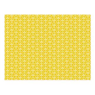 Signos de la paz en amarillo soleado postal