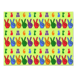 Signos de la paz multicolores múltiples de la mano invitación 10,8 x 13,9 cm