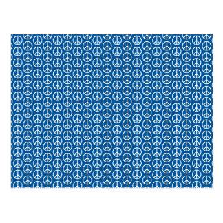 Signos de la paz retros en azul profundo postal