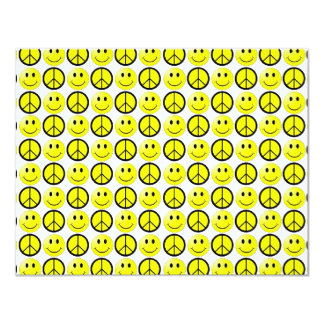 Signos de la paz sonrientes retros múltiples invitación 10,8 x 13,9 cm