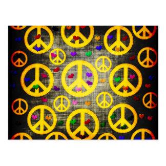 Signos de la paz y corazones postales