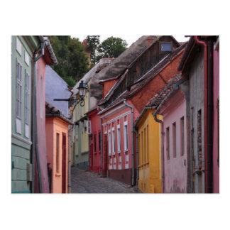 Sihgisoara, casas päinted tarjeta postal