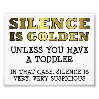 Silencio sospechoso con el poster divertido de los impresiones fotograficas