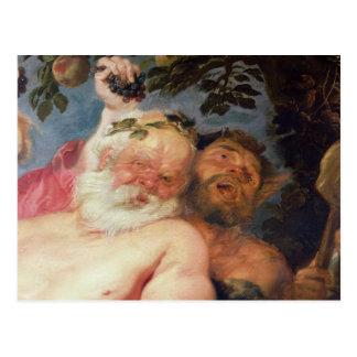 Silenus borracho apoyado por los sátiros, c.1620 postal
