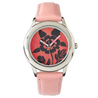 SilhouetteRose rosado con el reloj inoxidable de