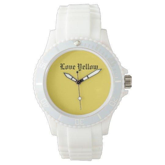 Silicio blanco deportivo de encargo amarillo del reloj de pulsera
