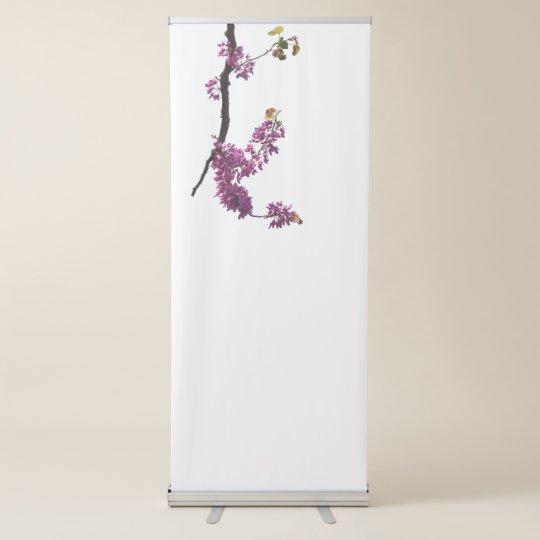 siliquastrum del redbud en la floración en el pancarta retráctil