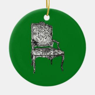 Silla de la regencia en verde ornamentos de reyes