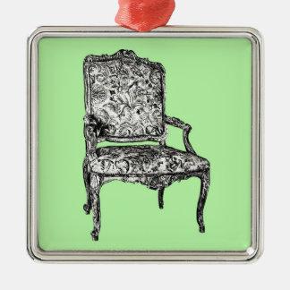 Silla de la regencia en verde lima adorno navideño cuadrado de metal