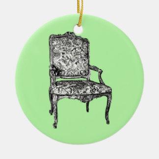Silla de la regencia en verde lima adorno navideño redondo de cerámica