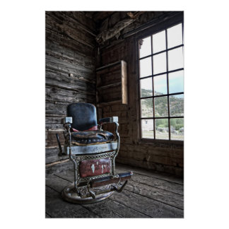 Silla de peluquero del pueblo fantasma - Bannack M Posters