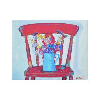 Silla elegante lamentable roja impresiones en lienzo estiradas
