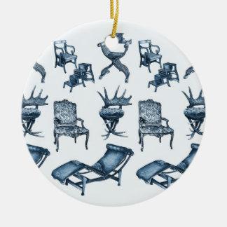Sillas azules ornamento de navidad