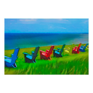 Sillas de jardín de la playa póster