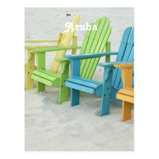 Sillas de playa en colores pastel en Aruba Postal