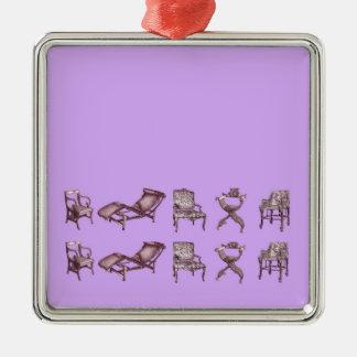 Sillas en un rosa ligero de la lila adorno navideño cuadrado de metal