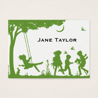 Silouette de los niños tarjeta de negocios