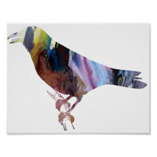 Silueta abstracta del cuervo póster