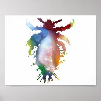 Silueta abstracta del piojo póster
