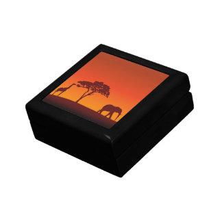 Silueta africana del safari - caja de regalo