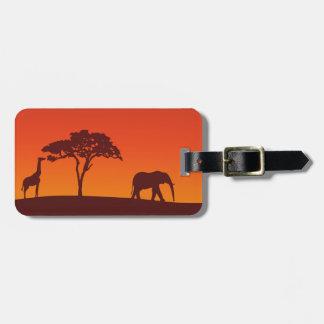 Silueta africana del safari - etiqueta del