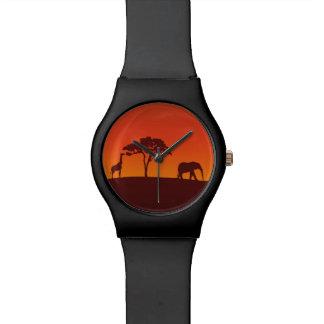 Silueta africana del safari - reloj de May28th