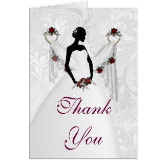 Silueta blanca del boda tarjeta de felicitación