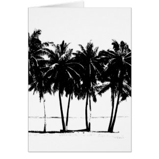 Silueta blanca negra de las palmeras tarjeta de felicitación