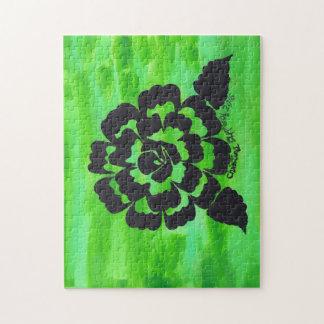 Silueta color de rosa verde y negra 11 x puzzle