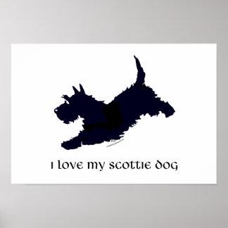 Silueta corriente de Terrier del escocés Póster
