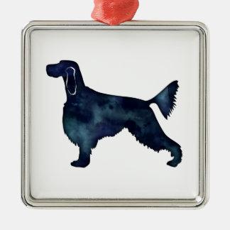 Silueta de la acuarela del negro del perro del adorno navideño cuadrado de metal