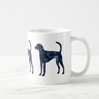 Silueta de la acuarela del negro del perro del taza de café