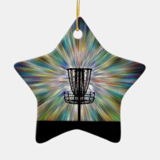 Silueta de la cesta del golf del disco adorno de cerámica en forma de estrella