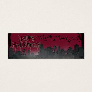 Silueta de la escena del cementerio de Halloween Tarjeta De Visita Pequeña
