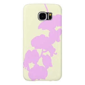 Silueta de la flor, rosado y grisáceo funda samsung galaxy s6