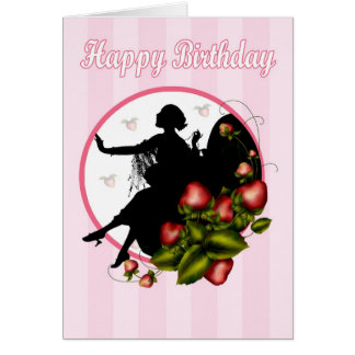 Silueta de la fresa de la tarjeta de cumpleaños