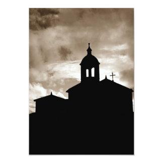 Silueta de la iglesia invitación 12,7 x 17,8 cm