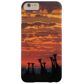 Silueta de la jirafa - cielo del fuego funda barely there iPhone 6 plus