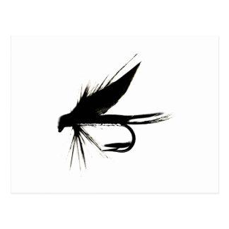 Silueta de la mosca mojada postal