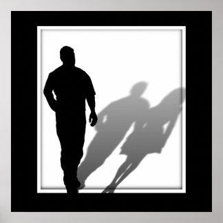 Silueta de la mujer desaparecida del hombre posters
