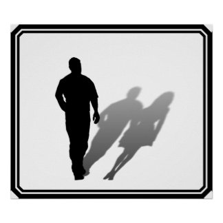 Silueta de la mujer desaparecida del hombre impresiones