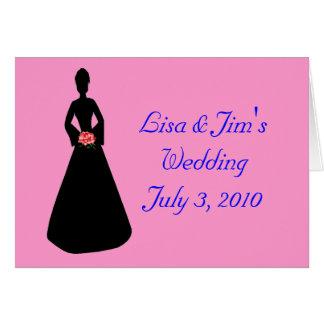 Silueta de la novia tarjeta de felicitación