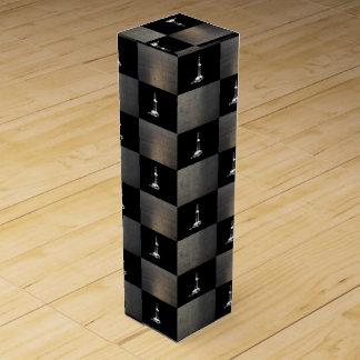 Silueta de la plataforma de perforación y caja del cajas de vino